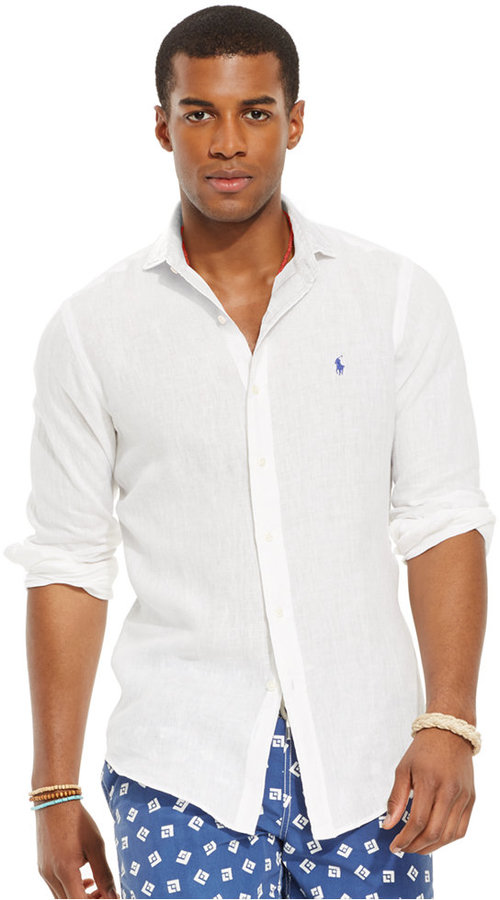 0026d7855338 ... White Linen Long Sleeve Shirts Polo Ralph Lauren Linen Sport Shirt ...