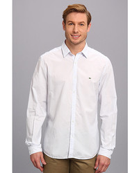 Lacoste Long Sleeve Button Down Linencotton Stripe Woven Shirt