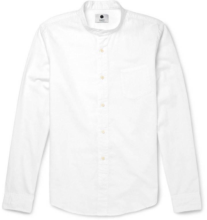 Grandad-collar Linen Shirt - Off-whiteLoro Piana