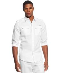 Sean John Solid Linen Blend Shirt