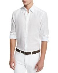 Ermenegildo Zegna Solid Linen Sport Shirt White