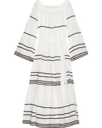 Lisa Marie Fernandez Rickrack Trimmed Linen Maxi Dress White