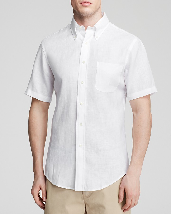 Brooks Brothers Short Sleeve Linen Button Down Shirt Classic Fit ...