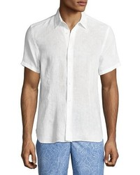 Orlebar Brown Meden Tailored Fit Short Sleeve Linen Shirt White