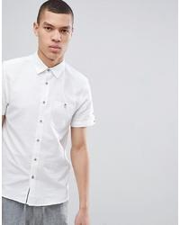 Ted Baker Slim Short Sleeve Linen Shirt In White