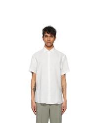 Ermenegildo Zegna White Pure Linen Short Sleeve Shirt