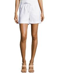 Neiman Marcus Cuffed Drawstring Linen Shorts Simply White