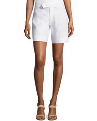 Neiman Marcus Flat Font Linen Shorts White