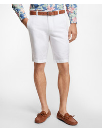 Brooks Brothers Houndstooth Cotton And Linen Bermuda Shorts