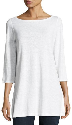 c9abbf08693 ... Eileen Fisher 34 Sleeve Organic Linen Tunic Plus Size ...