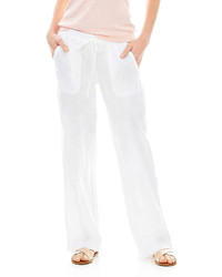 White Linen Wide Leg Pants