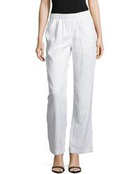 Neiman Marcus Elastic Waist Wide Leg Linen Pants Simply White