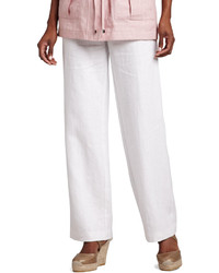 Neiman Marcus Long Linen Pants White