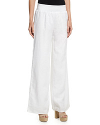 Neiman Marcus Pull On Wide Leg Linen Pants White