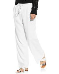 Vince Camuto Wide Leg White Linen Pants