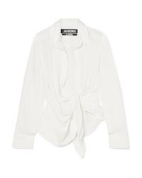 Jacquemus Bahia Gathered Cotton Blend Jacquard Top