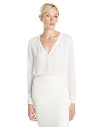 BCBGMAXAZRIA Klaire Long Sleeve Blouse With Lace Back