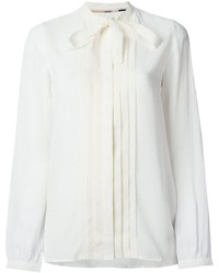 Burberry Brit Pussy Bow Pleat Detail Blouse