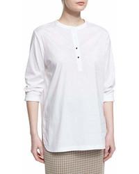 Misook Collection Button Placket Long Sleeve Blouse White Plus Size