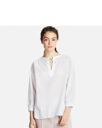 Uniqlo Cotton Dobby Long Sleeve Blouse