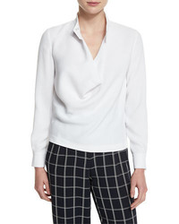 Elizabeth and James Darby Long Sleeve Cowl Blouse White