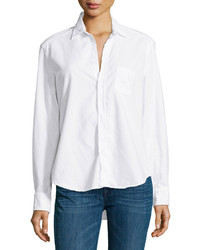 Frank Eileen Eileen Long Sleeve Button Front Blouse White
