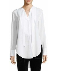 Rag & Bone Frida Long Sleeve Silk Tux Blouse