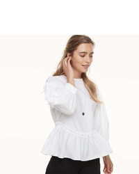 K Lab Klab Balloon Sleeve Peplum Blouse