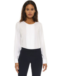 DKNY Long Sleeve Back Zip Pleated Front Blouse