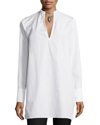 Valentino Long Sleeve Blouse Wwarrior Necklace White