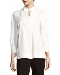 Lafayette 148 New York Long Sleeve Cotton Blend Blouse