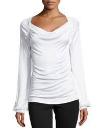 Versace Long Sleeve Draped Neck Blouse White