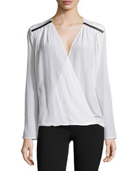 Versace Long Sleeve Faux Wrap Blouse White