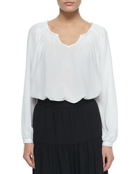 Neiman Marcus Long Sleeve Peasant Blouse