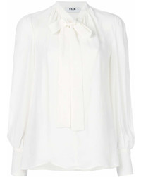 MSGM Long Sleeved Bow Blouse