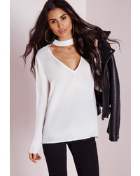 Missguided Choker Plunge Cut Out Blouse White