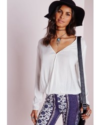 Missguided Muslin Cut Out Blouse White