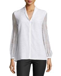 Escada Orly Long Sleeve Lace Blouse White
