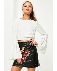 Missguided Petite White Frill Sleeve Blouse