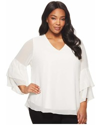 Calvin Klein Plus Plus Size V Neck Blouse With Two Tier Sleeve Long Sleeve Pullover