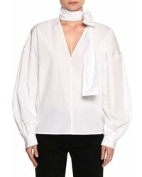 Poplin long sleeve tie neck blouse white medium 6986759