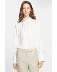 Nordstrom Signature And Caroline Issa Shirred Silk Twill Blouse