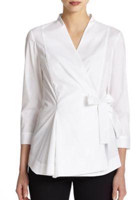 5ca802b9e00b5 ... White Long Sleeve Blouses Lafayette 148 New York Stretch Cotton Wrap  Blouse ...