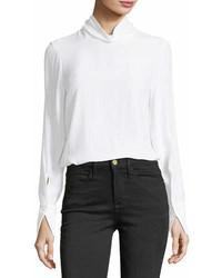 Frame Turtleneck Long Sleeve Silk Blouse