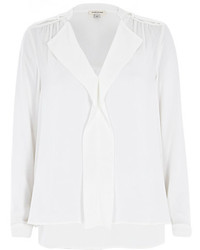 River Island White Long Sleeve Frill Front Blouse