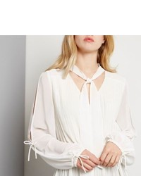 River Island White Pleated Blouse