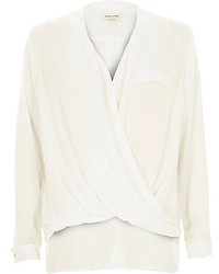 River Island White Wrap Front Blouse