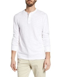 White Long Sleeve Henley Shirt