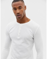 ASOS DESIGN Muscle Fit Long Sleeve T Shirt With Grandad Neck In Waffle In White
