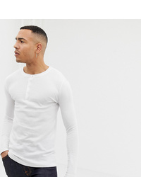 ASOS DESIGN T Sleeve T Shirt With Grandad Neck In Waffle In White